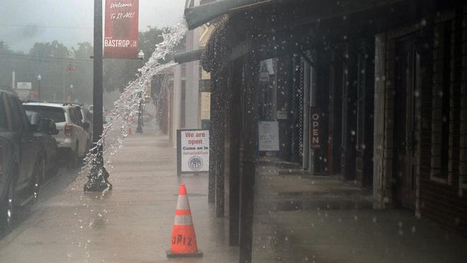 Downtown Bastrop sidewalks were empty Wednesday morning as showers dumped up to a half-inch of rain.