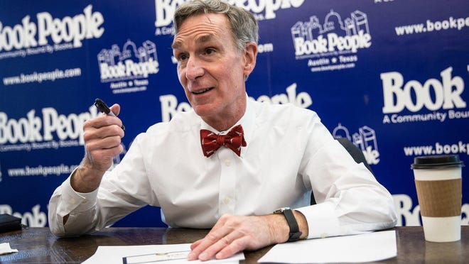 Bill Nye, science educator and TV personality, signs autographs at BookPeople during South by Southwest 2017. Nye has a new book out.