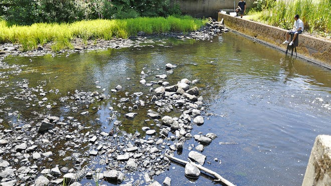 At Luddam´s Ford Park in Pembroke, the headwaters of the North River have been reduced. The dam spillway is all but dry. Lack of any measurable rain has caused many waterways to shrink. Drought conditions have forced Cohasset into a total outdoor water ban.