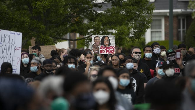 More than 1,000 people gathered at the West Middle School in Brockton for a peaceful protest and to stand together as a community against injustices that minority communities face on Tuesday, June 2, 2020.