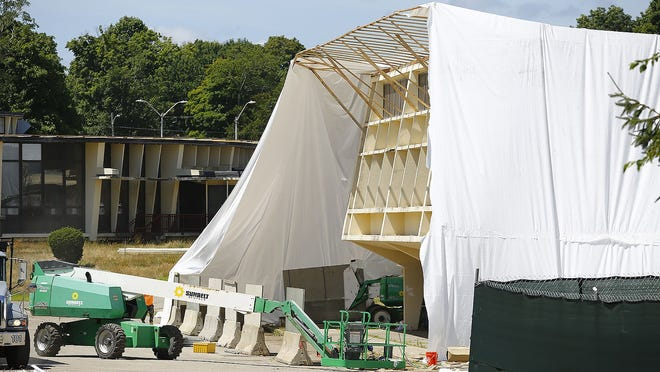 Demolition of the old Chapman Middle School continues on Thursday, July 16. Greg Derr/The Patriot Ledger