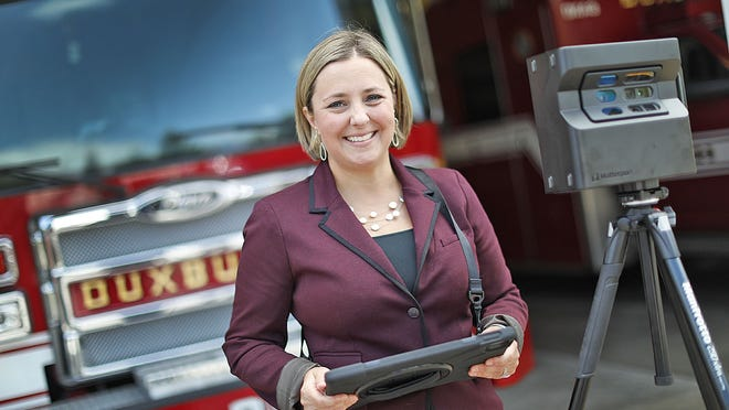 Video photographer and web designer, Jessica Laaper at Duxbury fire headquarters. Laaper has helped the department create a virtual tour of the station.