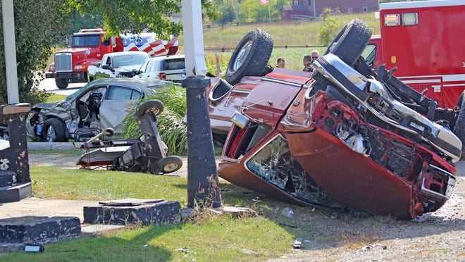Extensive damage was done to two vehicles in a collision Thursday in Camden Township.
