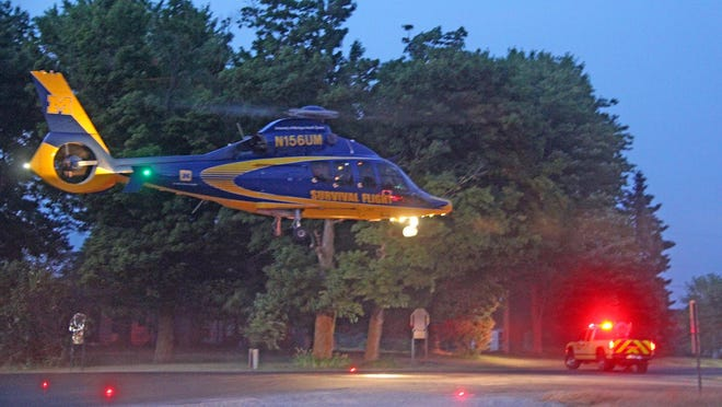Survival Flight takes off from the intersection of Moscow Road and Sterling Road bound for a trauma center.