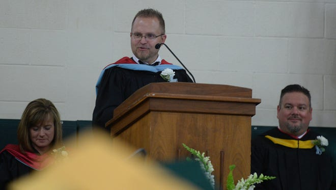 Principal Steve Angel speaks during the Northeastern High School class of 2015 commencement ceremony Friday, May 29, 2015, in Fountain City.