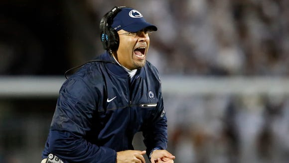 Penn State coach James Franklin reacts after an extra