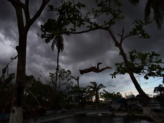 A young boy dives from one of the still standing trees
