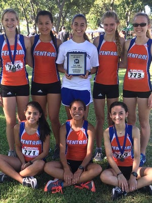 Bailey Kinney, center, helped lead the Central High School girls to the team title in the James Smith Invitational on Thursday, Sept. 7, 2017, in Midlothian. The Lady Cats finished fourth at the Lubbock Invitational Saturday, Sept. 23. They finished second Thursday, Oct. 5, at the Odessa Invitational, and will compete in the District 2-6A meet Thursday, Oct. 12, at the same course in Odessa.