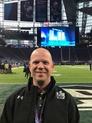 Mike Morrell on the field at U.S. Bank Field in Minneapolis for Super Bowl LII.