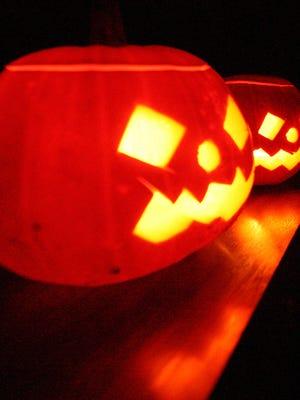 Candle-lit Halloween pumpkins