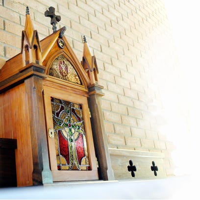 The walnut altar and cedar tabernacle at All Saints Anglican Church. All Saints is offering the Sacred Arts Series on the art and architecture of churches beginning with a workshop at 10 a.m. Saturday and continuing on Wednesdays during Lent.