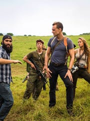 "Left to right: Director Jordan Vogt-Roberts, Thomas Mann, Tom Hiddleston and Brie Larson on the set of ""Kong: Skull Island."""