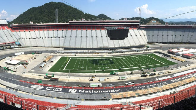 FILE - In this Aug. 29, 2016, file photo, preparations continue on the transformation of Bristol Motor Speedway to a college football stadium in Bristol, Tenn.