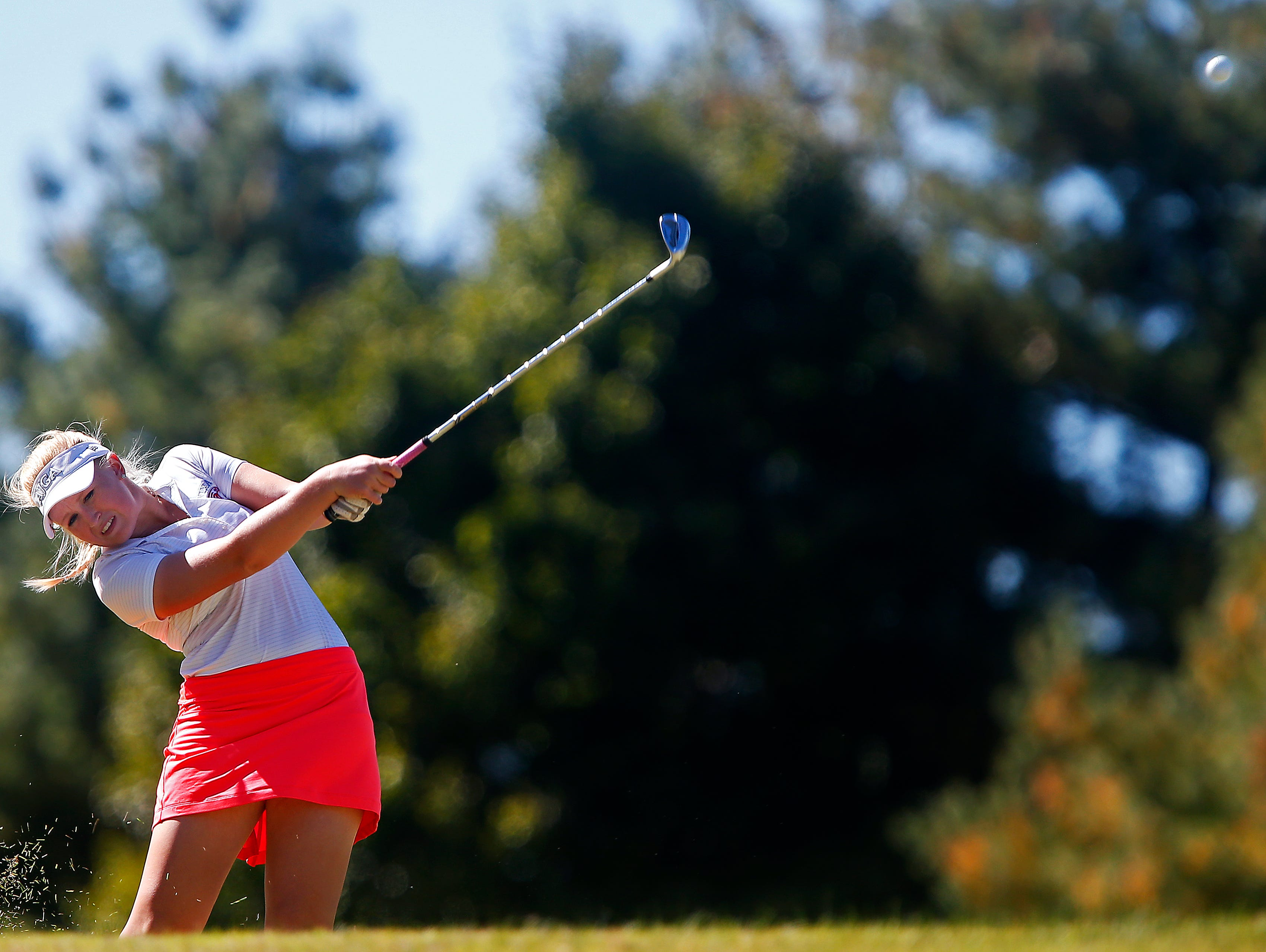 Nixa High School golfer Beth McDonald tees off from the 3rd hole of the Rivercut Golf Club during the 2015 MSHSAA Class 2 Girls Golf State Championship played in Springfield, Mo. on Oct. 13, 2015.