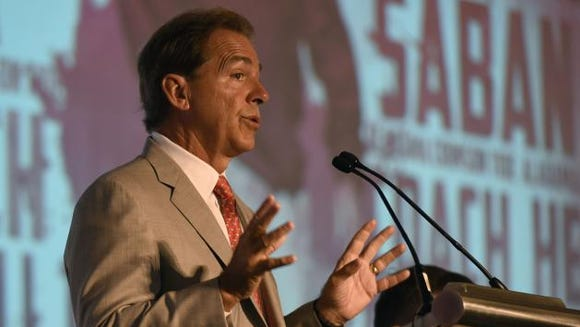 Nick Saban answers questions at Wednesday's SEC Media