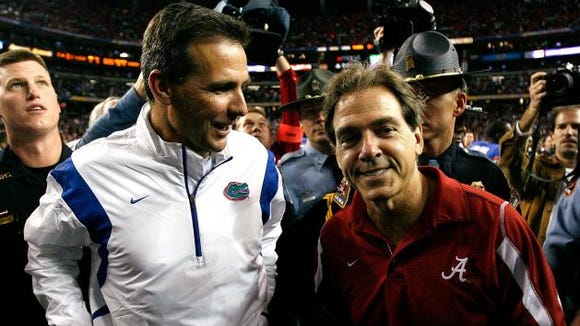 Urban Meyer and Nick Saban faced each other in the SEC championship game in 2008 and 2009 with Florida and Alabama splitting the two.