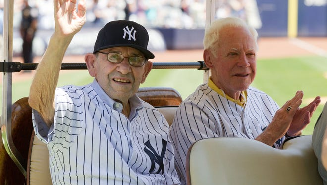 June 23, 2013; New York, NY, USA; New York Yankee hall of famers Yogi Berra (left) and Whitey Ford at the New York Yankees 67th old timers day prior to the game against the Tampa Bay Rays at Yankee Stadium. Mandatory Credit: William Perlman-The Star-Ledger via USA TODAY Sports