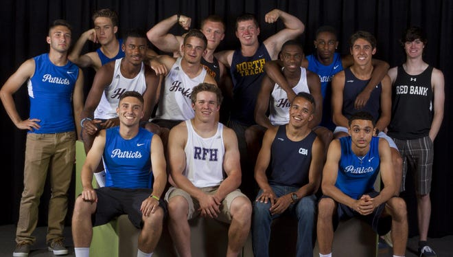 The 2015 All-Shore Boys Track & Field Team of: (front row): Kyle Czajkowski, Charlie Volker, Mike Zupko and Tyree Wilson; (middle row) Nate Bowie, Matt Isaacson, Greg Edwards and Drake Anzano; (back row) Janson Czajkowski, Kevin Mazzella, Cinjun Erskine, Kevin Benson, Nasir Haines and Sean Patterson.