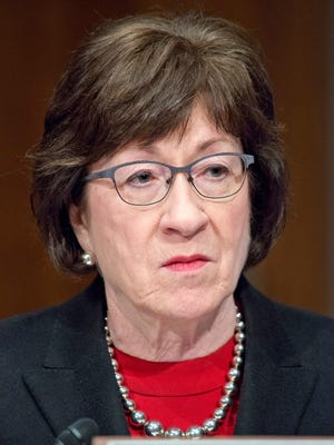 Sen. Susan Collins (R-Maine) on Capitol Hill in Washington, D.C., on March 22, 2017. President Donald Trump is proposing overhauls in the aviation industry that do not sit well with Collins and other lawmakers from rural states. (Ron Sachs/CNP/Sipa USA/TNS)