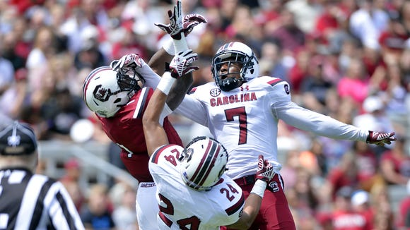 South Carolina transfer Wesley Green (7) should figure into the Hoosiers defensive secondary mix.