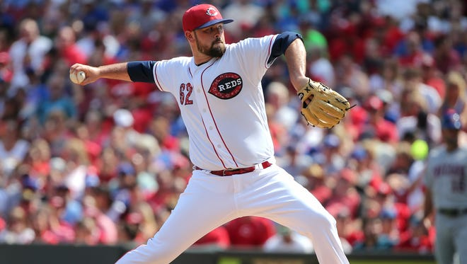 Cincinnati Reds pitcher Jackson Stephens (63) delivers to the plate in the second inning during the National League baseball game between the Chicago Cubs and the Cincinnati Reds on July 1, 2017, at Great American Ball Park.