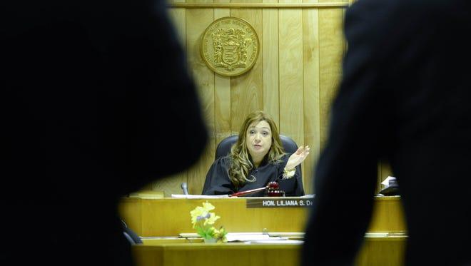 Judge Liliana DeAvila-Silebi on the bench in Superior Court in Paterson.