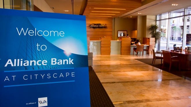 First-quarter profits rose 29 percent for the parent of Alliance Bank of Arizona. Western Alliance Bancorporation has its headquarters in downtown Phoenix's CityScape development.
