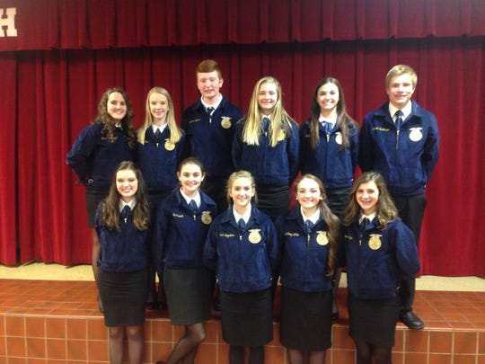 Pictured above is the Jr. Parliamentary Procedure team which placed Second in the regional FFA contest on December 8th. Back row left to right: Emma Greenwell, Haley LaRue, Nathan Nelson, Taylor Windell, ALT. Emily Hibbs, Hunter Robinson. Front Row: Kenzie Godbehere, Ellie French, Sarah Hagedorn, Mallory White, and Emma Sheffer.