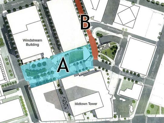 """Names are needed for the plaza (area marked """"A"""") and the street (marked """"B"""")."""