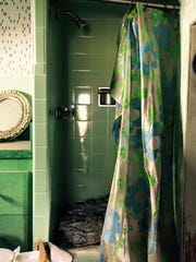 The shower inside the tiny home.