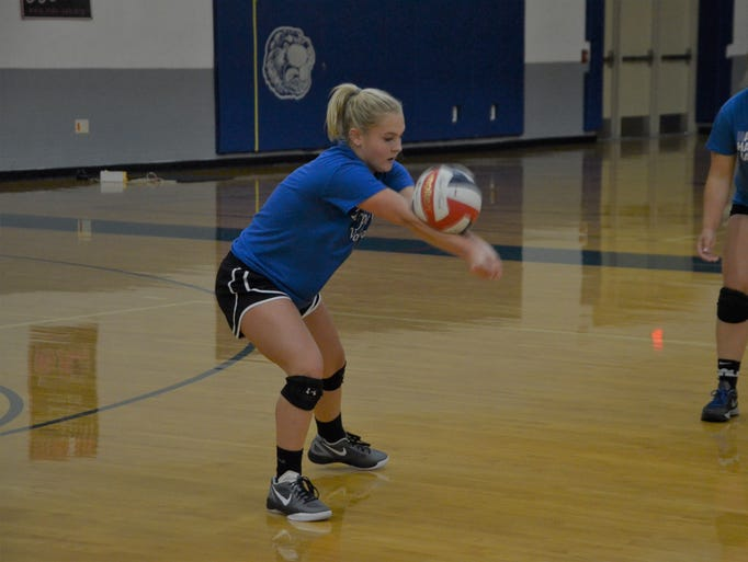 Harper Creek sophomore Gabby Bishop gets a dig during