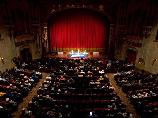 The Stefanie H. Weill Center for the Performing Arts, shown here during a mayoral debate, simply was too small to house the Sanders campaign event. Photo by Bruce Halmo/The Sheboygan Press