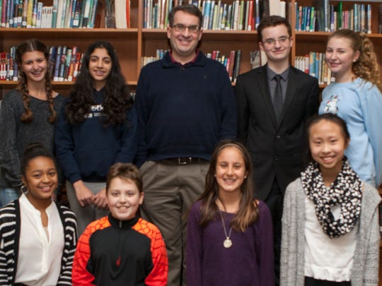 Author Day at Valley View Middle School. Standing:  Rachel Krouk, Shreya Maggon, Author - Jordan Sonnenblick, Aidan Cooper, Kaelin Churchill Sitting: Jayda Upton, Finn Sorensen, Leah Alberto and Helen Zheng