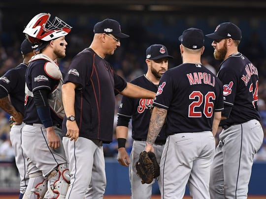 From 2016: Terry Francona (center) managed the Cleveland Indians to a World Series appearance in 2016, losing to the Chicago Cubs in 7 games.