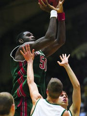 Greg Oden attempts a shot while at Lawrence North.