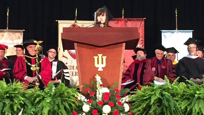 Kathryn Marr of Nashville Tenn., was the student speaker for the 2015 Indiana University East Commencement Ceremony. She completed her bachelor of science degree in communications studies online, and is the first distance learning student selected to address the graduates after auditioning for the honor