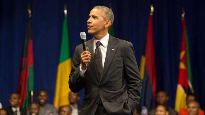 President Obama speaks at a town hall during the Summit of the Washington Fellowship for Young African Leaders on Monday.