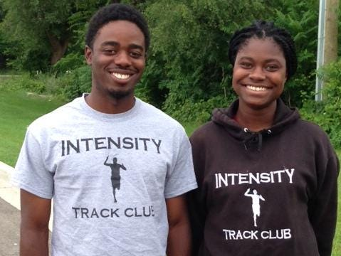 Intensity Track Club coaches Jamal Johnson, left, and Jana Hughes are thrilled that 11 of their athletes qualified for the AAU Junior Olympics.