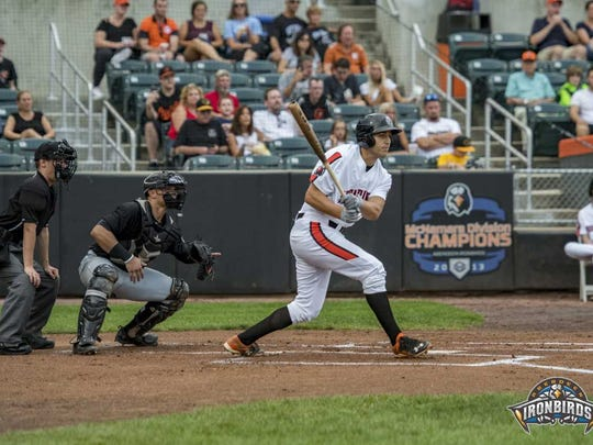 Ryan Ripken takes the plate for the Aberdeen Ironbirds in 2017.