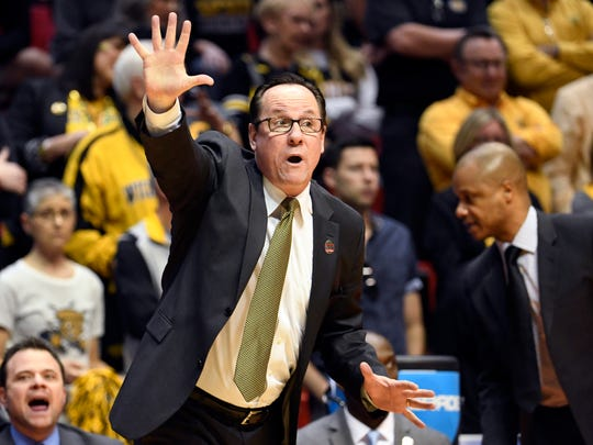 Wichita State head coach Gregg Marshall reacts during the first half of a first-round NCAA college basketball tournament game against Marshall Friday, March 16, 2018, in San Diego. (AP Photo/Denis Poroy)