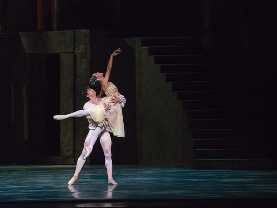 """Misty Copeland and Herman Cornejo are seen during Thursday's opening night performance of """"Romeo & Juliet"""" at the Detroit Opera House. Performed by American Ballet Theatre, performances of the production continue through Feb. 11."""