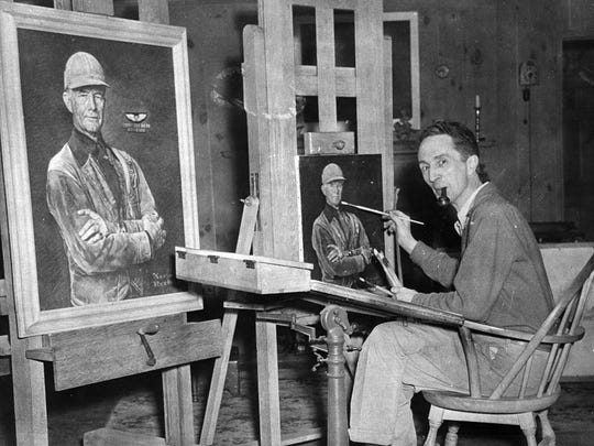 Artist Norman Rockwell at work. Rockwell is a former resident of Arlington. The town has been shaken by the slaying of an elderly woman.