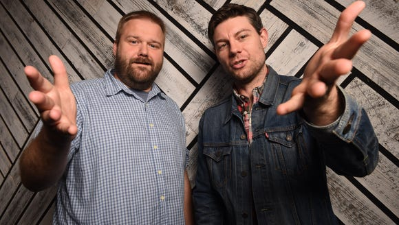 Robert Kirkman (left) and Patrick Fugit, star of the