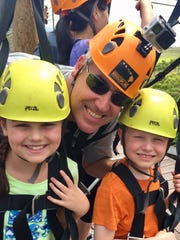Sarah, Greg and Sam Shamus get ready to zip line in Maui, Hawaii, in February 2017.
