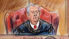 This courtroom sketch depicts U.S. District court Judge
