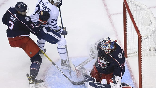 Elvis Merzlikins came in off the bench in Game 3 and didn't allow a goal and made 21 saves in the Blue Jackets' 4-3 overtime win.