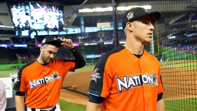 Jul 10, 2017: National League pitcher Robbie Ray (left) of the Arizona Diamondbacks and infielder Jake Lamb (right) of the Arizona Diamondbacks leave the field after being interviewed during batting practice one day before the 2017 MLB All Star Game at Marlins Park.