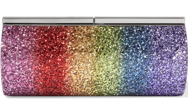 Jimmy Choo's Trinket glittered satin clutch adds a happy touch to your little black dress, $1,150, net-a-porter.com.