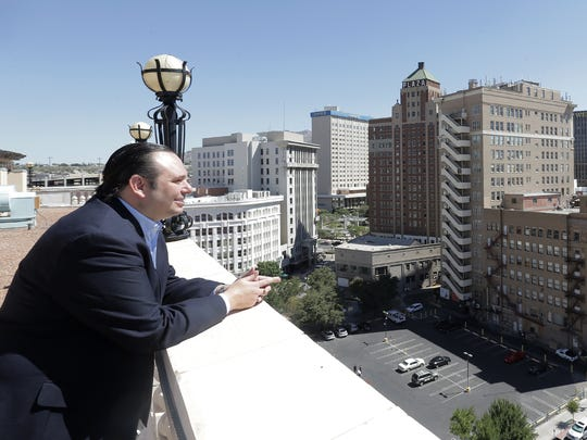 Meyers Group Senior VP of Planning and Developement Cito Beguiristain looks out over downtown El Paso from what once was a roof deck at the Camino Real Hotel. Beguiristain plans to return the hotel to its original splendor.