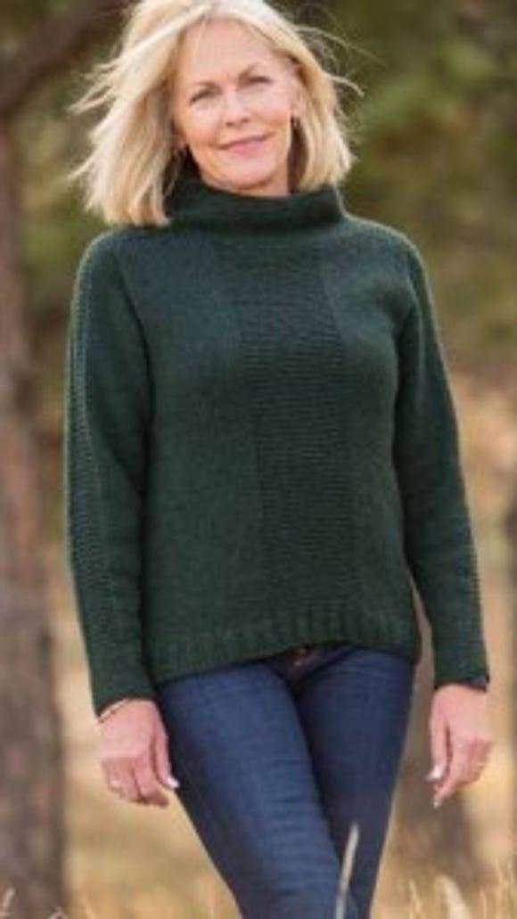 This saddle-shoulder pullover has simple, elegant lines.